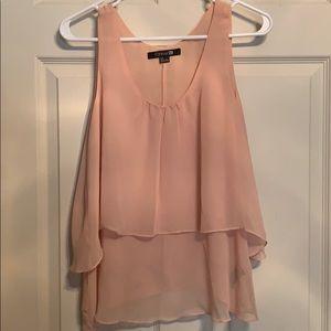 Pale pink sheer tank blouse